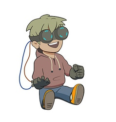 Chibi kid with Virtual reality glasses vector image