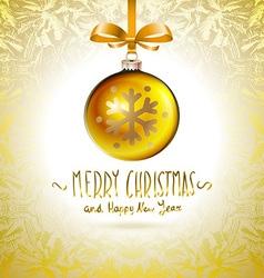 Golden realistic Christmas balls yellow vector image vector image