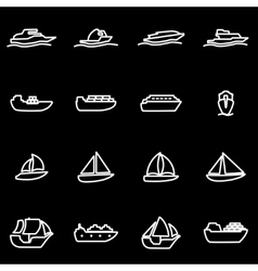 line ship and boat icon set vector image vector image