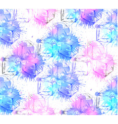 seamless texture with hand drawn ice cubes and vector image vector image