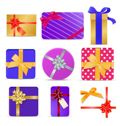 set of gift boxes with ribbons and bows vector image vector image