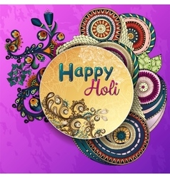 template poster Indian festival Happy Holi vector image