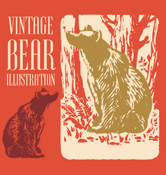 Vintage animal design bear vector