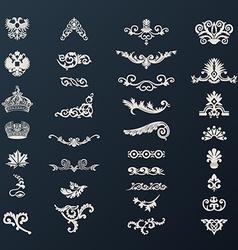 Vintage royal design elements black vector