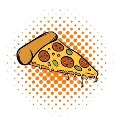 Pizza slice comics icon vector image