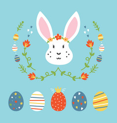 set collection of easter eggs and rabbit vector image vector image