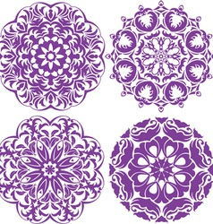 Set of 4 one color round ornaments Lace floral pat vector image vector image