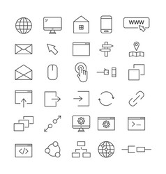 top 30 web line icons vector image vector image