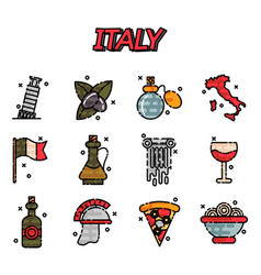 italy flat icons design vector image vector image