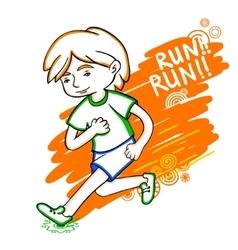 Run boy color vector image