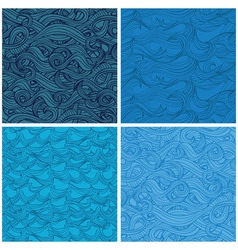 set of seamless pattern with hand-drawn waves vector image
