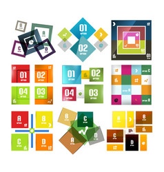 set of square shaped infographic diagram templates vector image