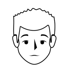Silhouette front view man with serius gesture vector