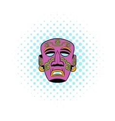 Tribal mask icon comics style vector