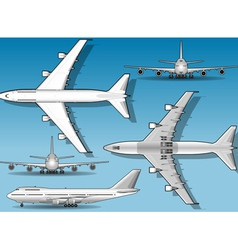 White Plane in Five Positions vector image vector image