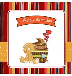 birthday greeting card with cupcake and puppy toy vector image