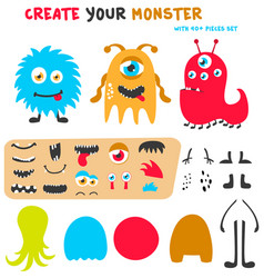 cartoon funny monsters creation kit create your vector image