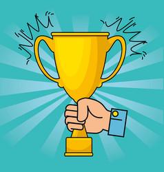 gold trophy cup cartoon vector image