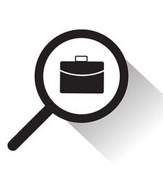 magnifying glass with bag icon vector image vector image