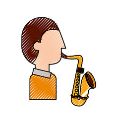 musician character saxophone jazz music festival vector image vector image
