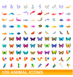 100 animal icons set cartoon style vector