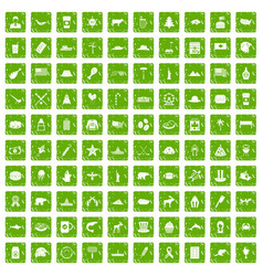 100 north america icons set grunge green vector image
