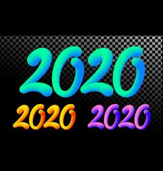 2020 number colorful neon gradient color 3d text vector image
