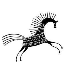 abstract folk horse ornate for your design vector image