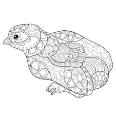 adult coloring bookpage a cute littel bird image vector image