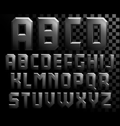 Alphabet of metal letters vector