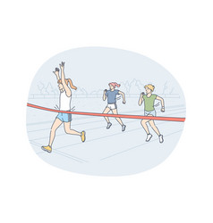 athletics running marathon competition concept vector image