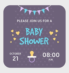 Baby shower invitation card template Violet vector image