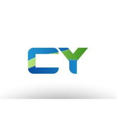 Blue green cy c y alphabet letter logo vector
