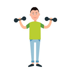 boy goes in for sport sportive male cosy apparel vector image