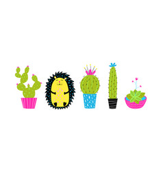 cactus in pots and hedgehog hand drawn set vector image