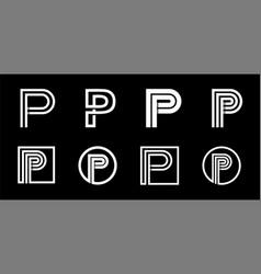 Capital letter p modern set for monograms logos vector