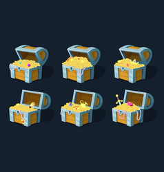 cartoon chest with treasure vector image