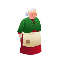 cartoon mrs claus merry christmas and new year vector image
