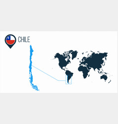 Chile map located on a world map with flag and vector