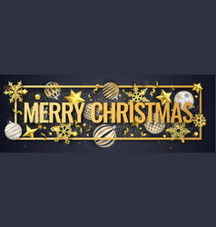 christmas horizontal banner with shining vector image