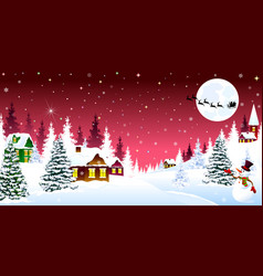 Christmas winter night over a snow-covered village vector