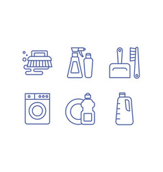 cleaning service icons set housekeeping washing vector image
