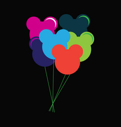 colorful flying balloons flat icon vector image