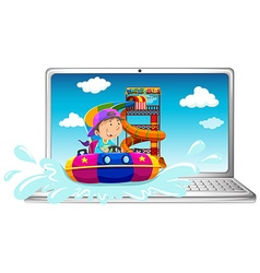 Computer screen with boy on water slide vector
