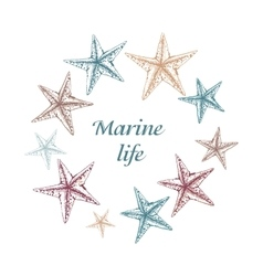 Decorative sea card with starfishes on white vector image