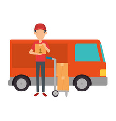 delivery worker with cart and truck vector image