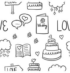 Doodle of wedding various element vector
