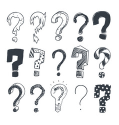 doodle question marks hand drawn interrogation vector image