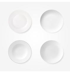 Empty plates set isolated on white background vector image