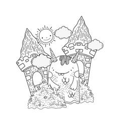 fairytale monster in castle vector image